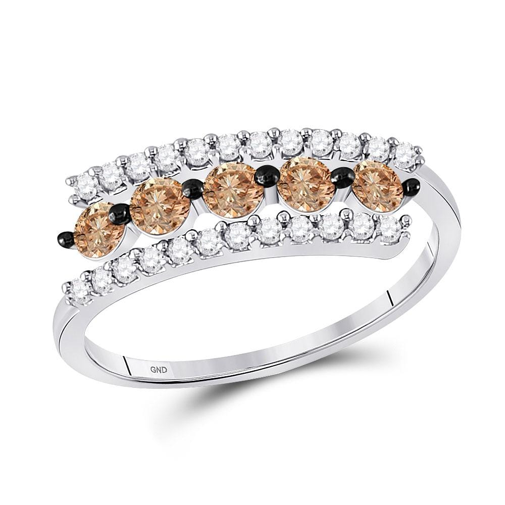 10kt White Gold Womens Round Cognac-brown Color Enhanced Diamond Triple Row Band 5/8 Cttw