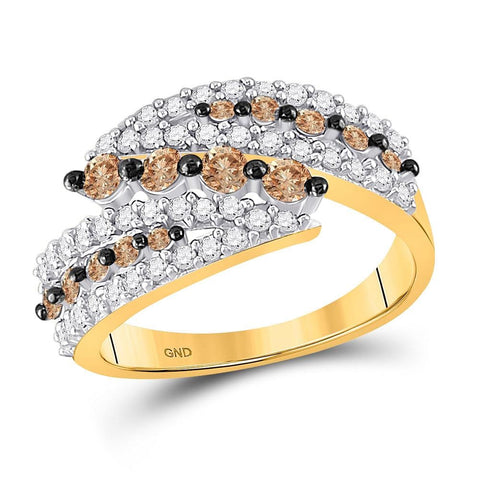 10kt Yellow Gold Womens Round Brown Color Enhanced Diamond Band Ring 1.00 Cttw