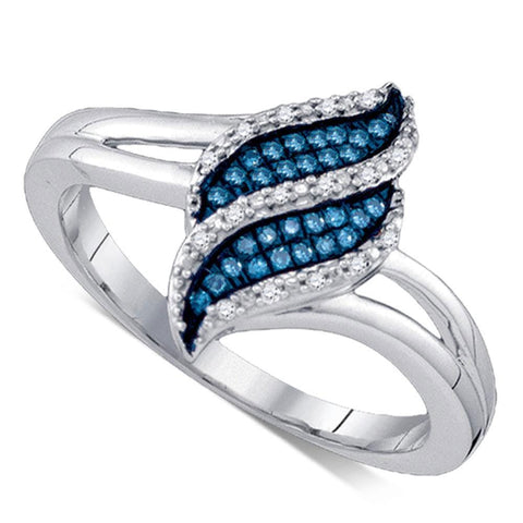 10kt White Gold Womens Round Blue Color Enhanced Natural Diamond Cluster Ring 1/10 Cttw