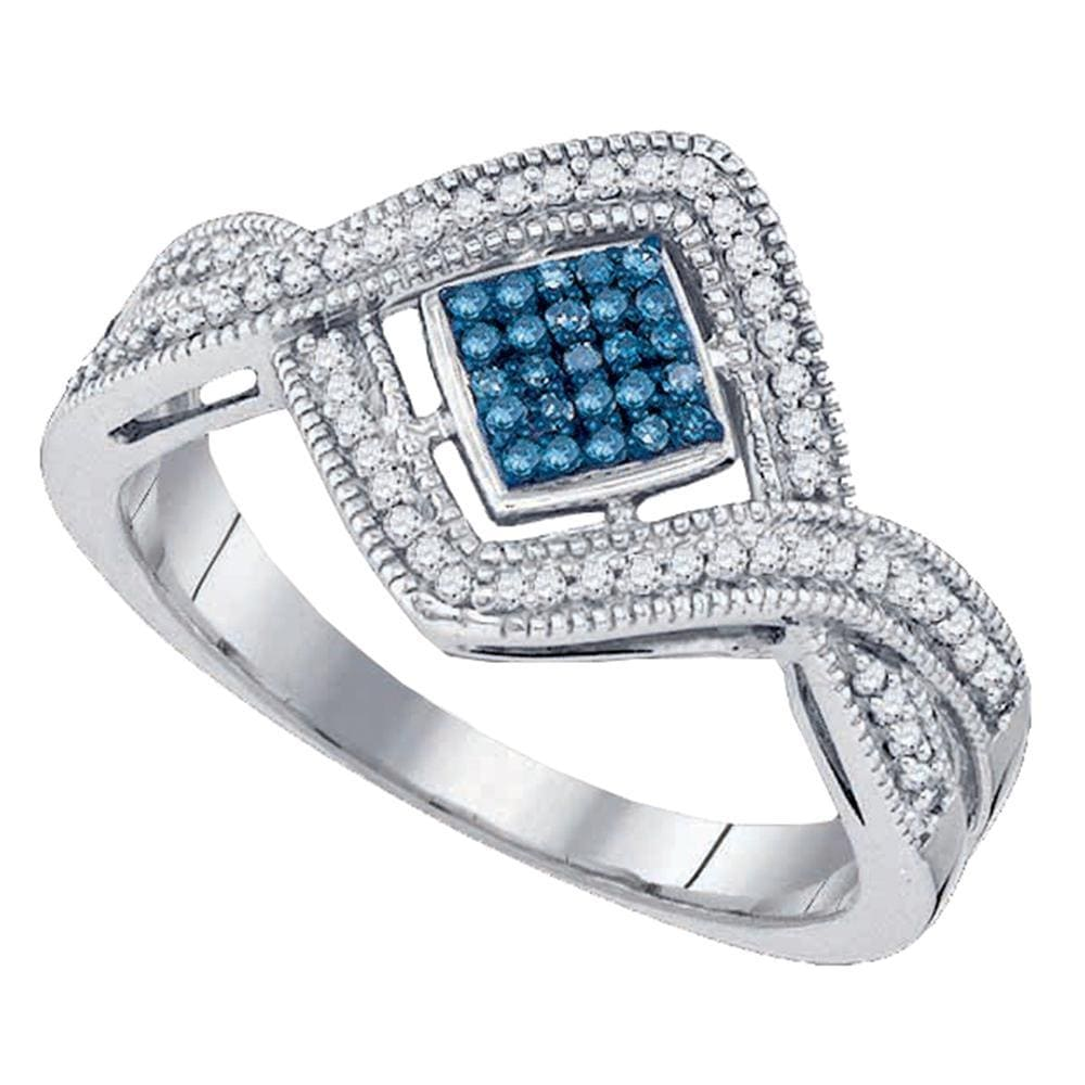 10kt White Gold Womens Round Blue Color Enhanced Diamond Square Frame Cluster Ring 1/6 Cttw
