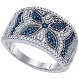 10kt White Gold Womens Round Blue Color Enhanced Diamond Milgrain Floral Band 3/8 Cttw