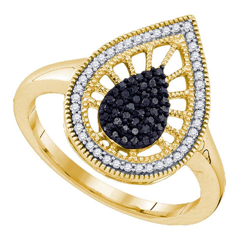 10kt Yellow Gold Womens Round Black Color Enhanced Diamond Teardrop Ring 1/3 Cttw