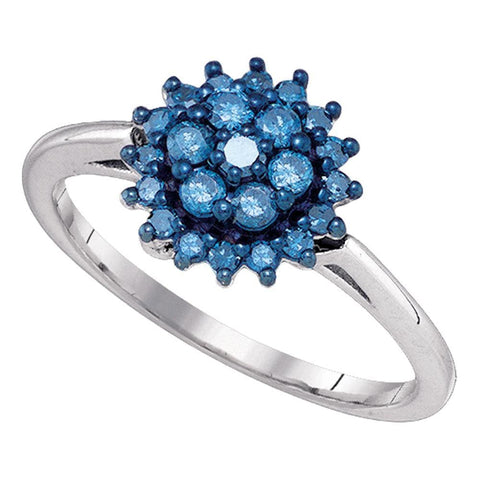 10kt White Gold Womens Round Blue Color Enhanced Diamond Flower Cluster Ring 3/8 Cttw