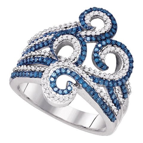 10kt White Gold Womens Round Blue Color Enhanced Natural Diamond Wide Swirl Curl Cocktail Ring 3/4 Cttw
