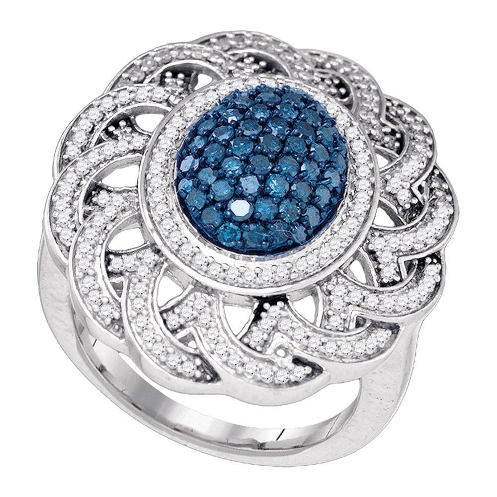 10kt White Gold Womens Round Blue Color Enhanced Diamond Cluster Antique-style Ring 1.00 Cttw