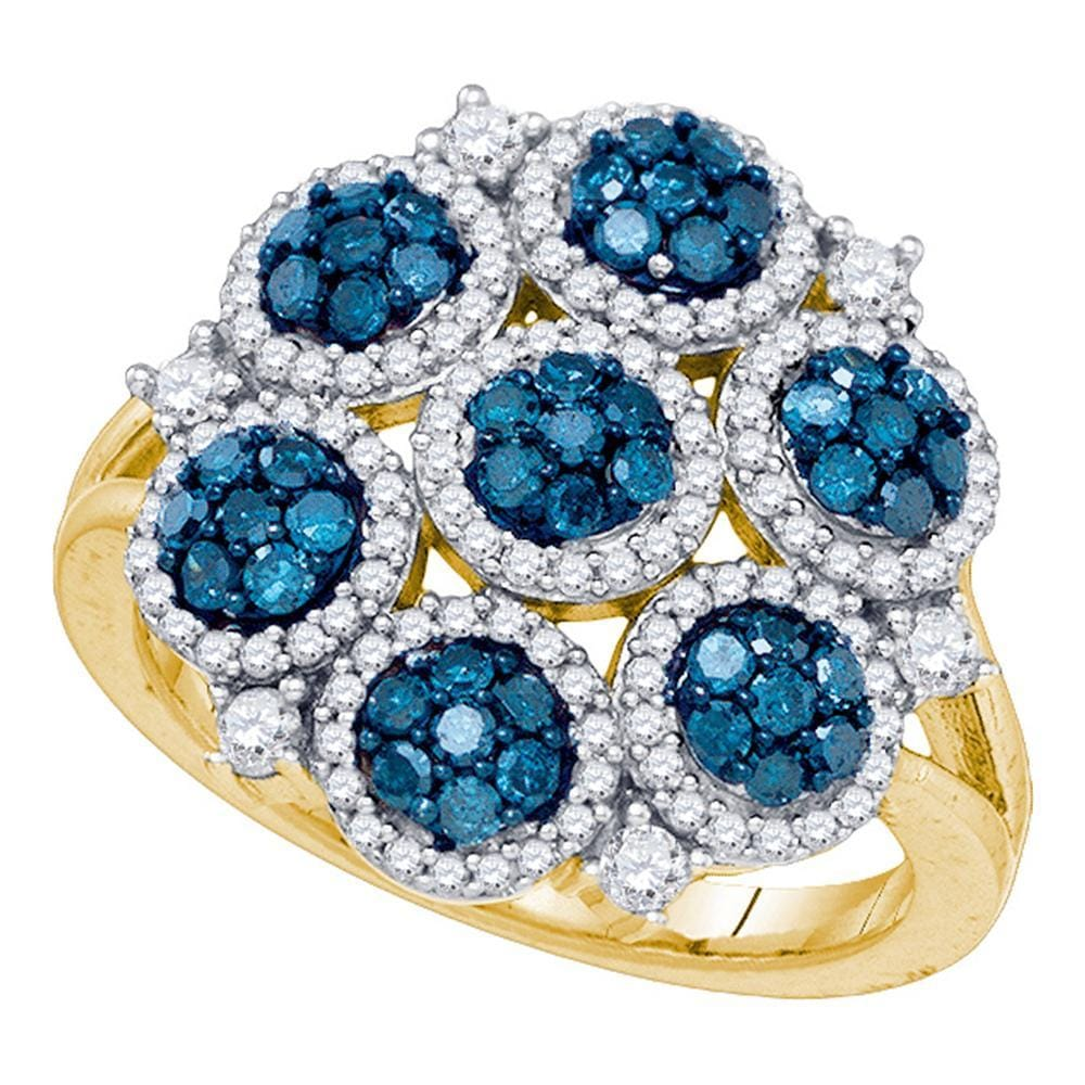 10kt Yellow Gold Womens Round Blue Color Enhanced Diamond Large Circle Frame Cluster Ring 1-1/4 Cttw