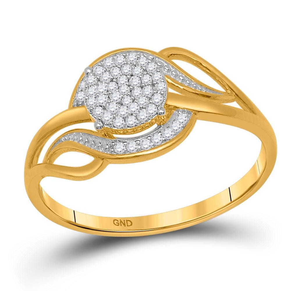 10kt Yellow Gold Womens Round Diamond Cluster Ring 1/6 Cttw