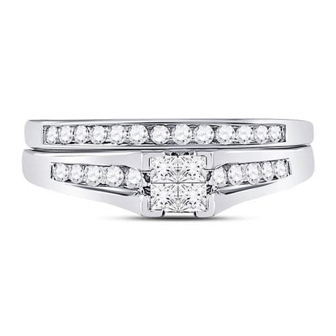 10kt White Gold Womens Princess Diamond Bridal Wedding Engagement Ring Band Set 1/2 Cttw