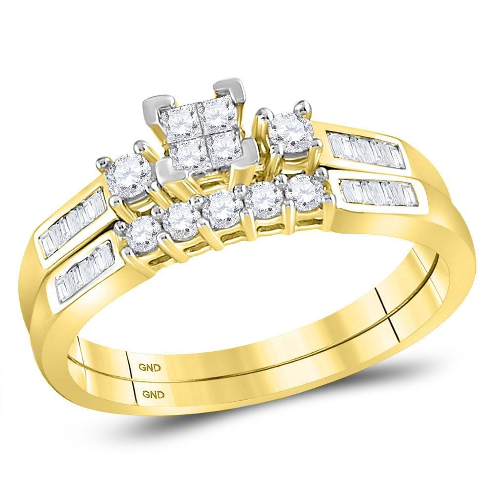 10kt Yellow Gold Womens Princess Diamond Bridal Wedding Engagement Ring Band Set 3/8 Cttw