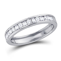 14kt White Gold Womens Round Baguette Diamond Channel-set Wedding Band 1/4 Cttw