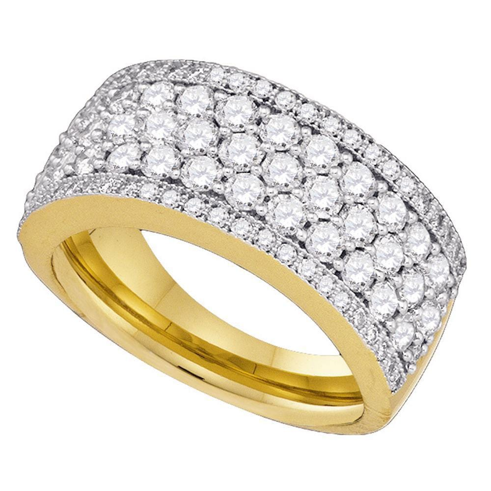 14kt Yellow Gold Womens Round Diamond Band Ring 1-5/8 Cttw