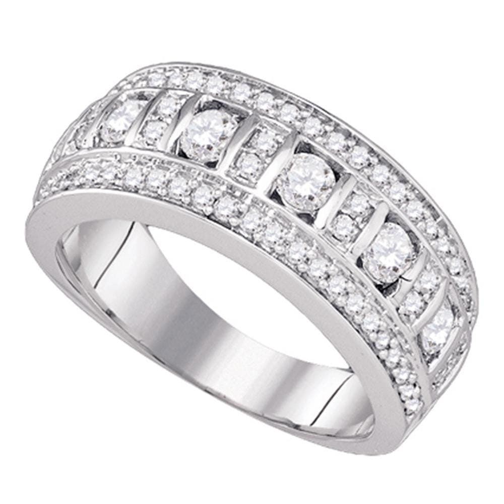 14kt White Gold Womens Round Channel-set Diamond Triple Row Band 1.00 Cttw