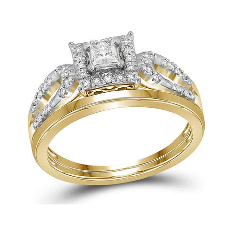 10kt Yellow Gold Womens Princess Diamond Halo Bridal Wedding Engagement Ring Band Set 1/4 Cttw