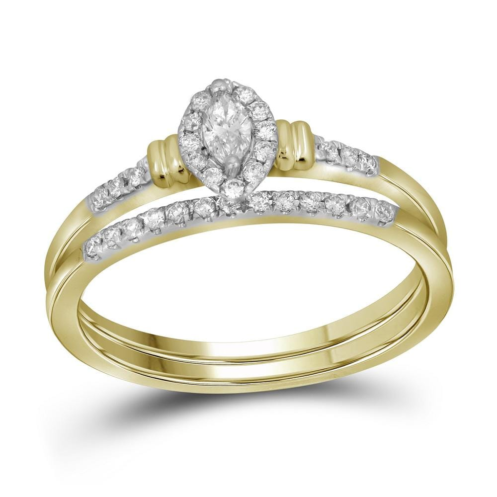 10k Yellow Gold Womens Marquise Diamond Bridal Wedding Engagement Ring Band Set 1/5 Cttw