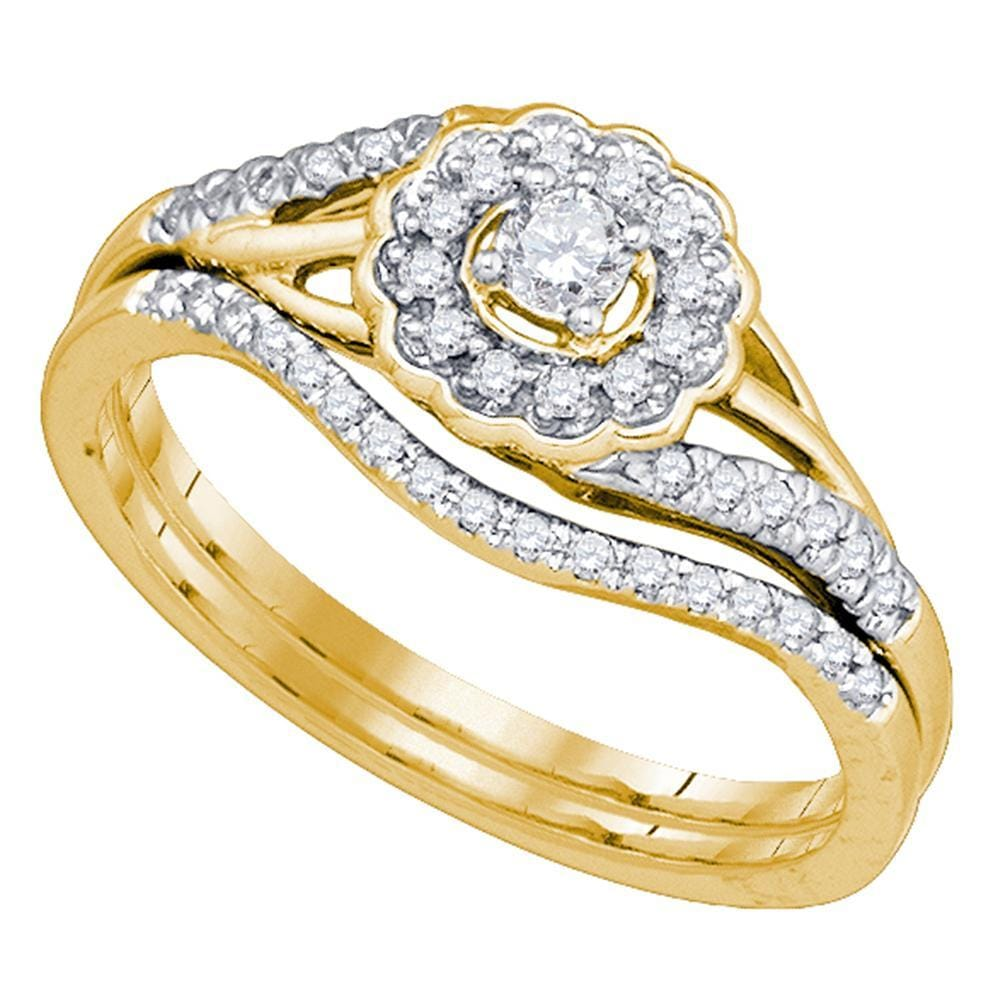 10kt Yellow Gold Womens Round Diamond Flower Floral Bridal Wedding Engagement Ring Band Set 1/4 Cttw