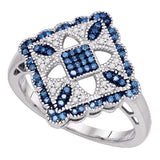 10kt White Gold Womens Round Blue Color Enhanced Diamond Square Cluster Ring 1/4 Cttw