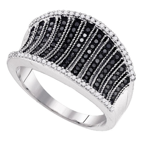 10kt White Gold Womens Round Black Color Enhanced Diamond Cocktail Concave Ring 3/8 Cttw