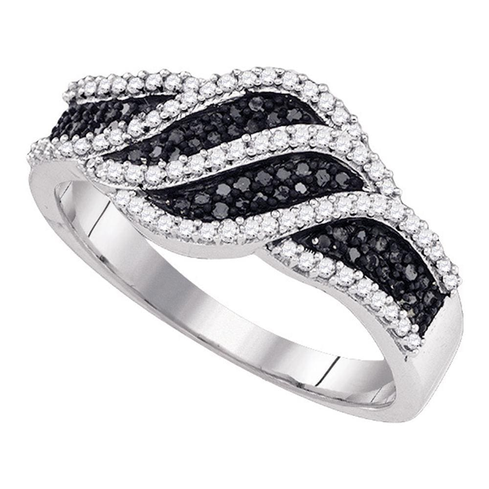 10kt White Gold Womens Round Black Color Enhanced Diamond Stripe Crossover Band Ring 3/8 Cttw