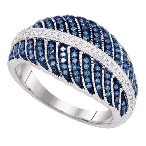10kt White Gold Womens Round Blue Color Enhanced Diamond Milgrain Cocktail Ring 3/8 Cttw