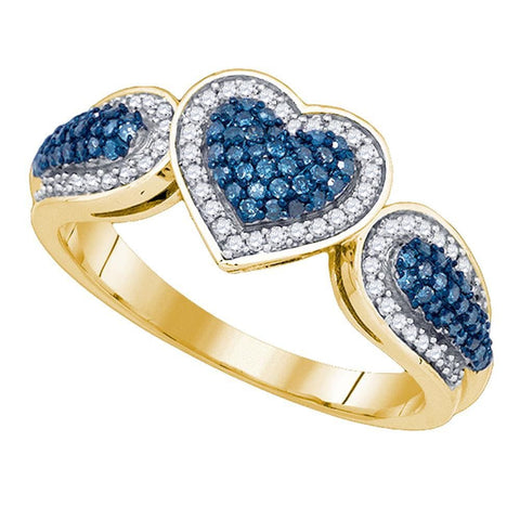 10kt Yellow Gold Womens Round Blue Color Enhanced Diamond Heart Love Ring 3/8 Cttw