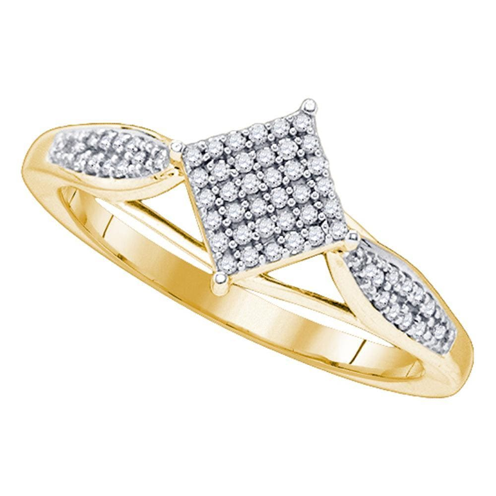 10kt Yellow Gold Womens Round Diamond Diagonal Square Cluster Ring 1/5 Cttw