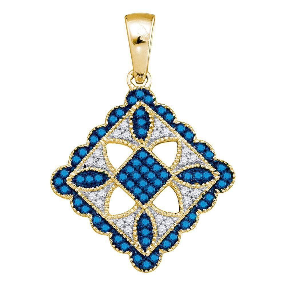 10kt Yellow Gold Womens Round Blue Color Enhanced Diamond Square Pendant 1/4 Cttw