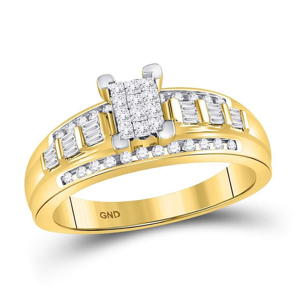 10kt Yellow Gold Womens Princess Diamond Cluster Bridal Wedding Engagement Ring 1/2 Cttw