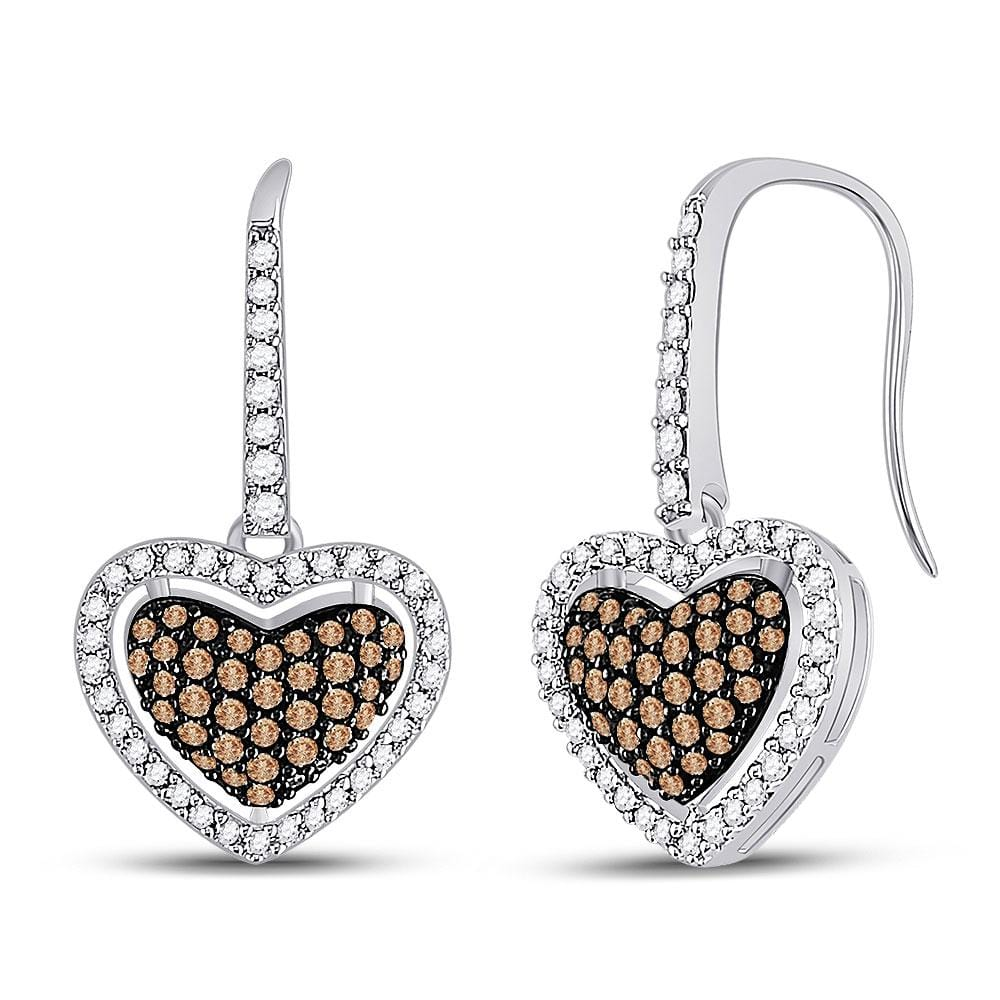 10kt White Gold Womens Cognac-brown Color Enhanced Diamond Heart Dangle Earrings 5/8 Cttw