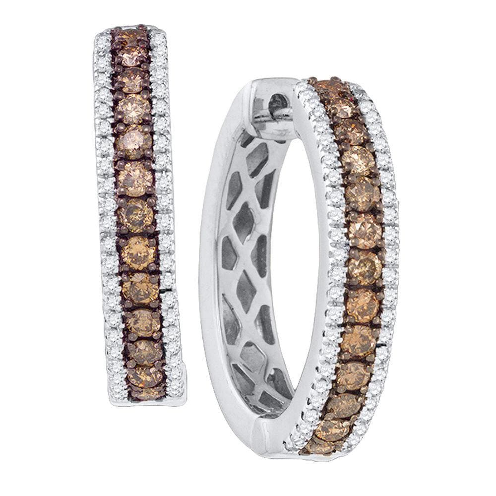 14kt White Gold Womens Round Cognac-brown Color Enhanced Diamond Hoop Earrings 1.00 Cttw