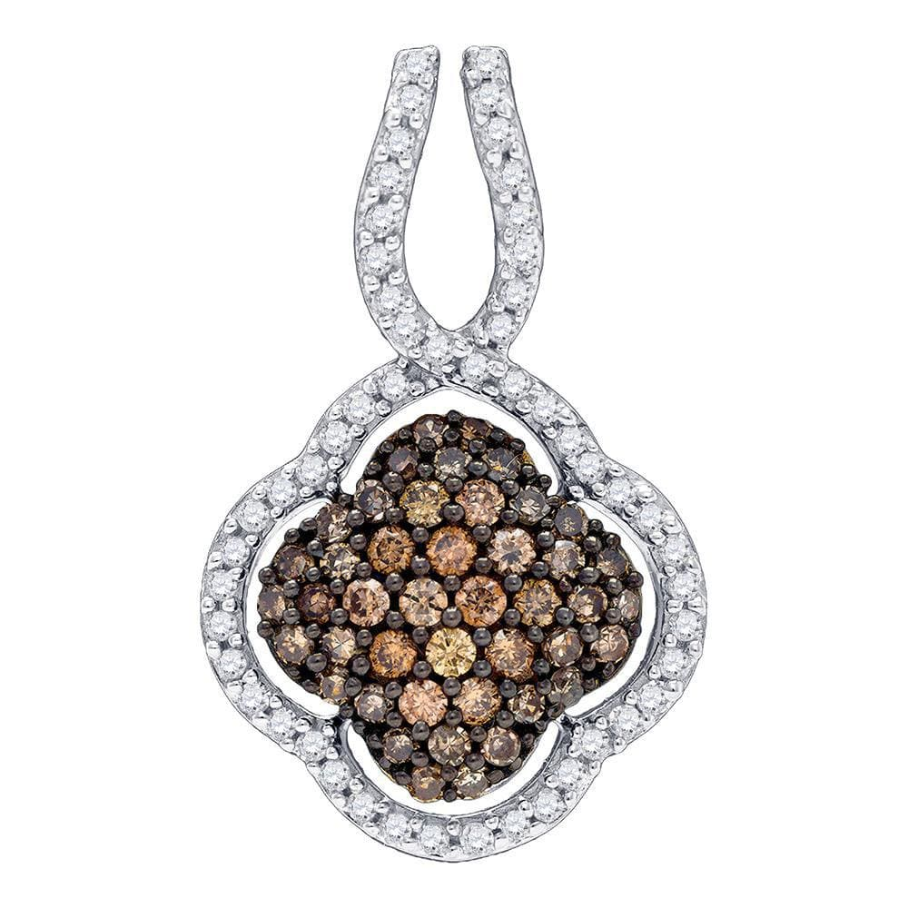 10kt Yellow Gold Womens Round Brown Color Enhanced Diamond Quatrefoil Pendant 1/2 Cttw