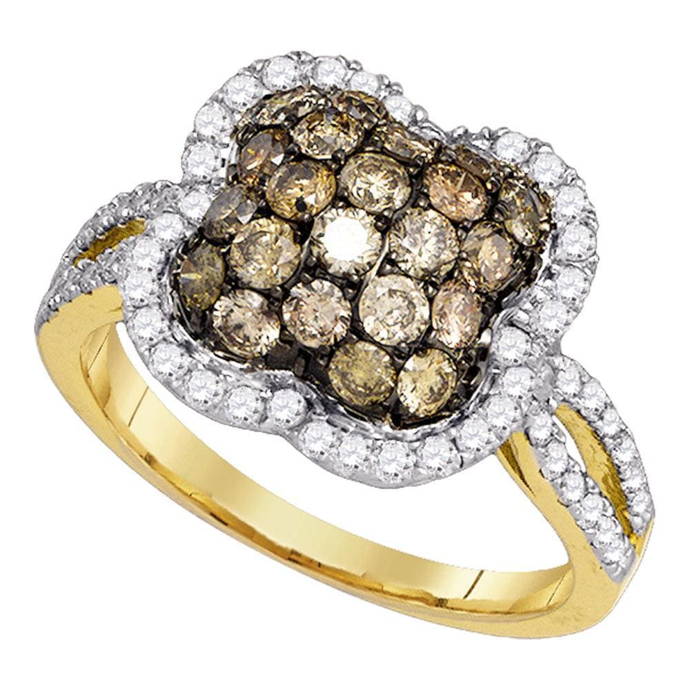 10kt Yellow Gold Womens Round Cognac-brown Color Enhanced Diamond Quatrefoil Cluster Ring 1-1/2 Cttw