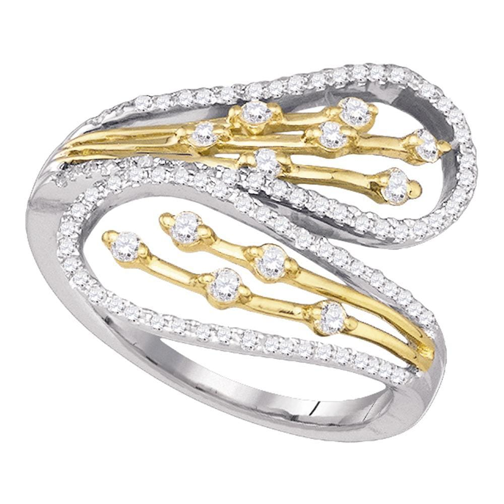 10kt Two-tone Yellow Gold Womens Round Diamond Bypass Cocktail Ring 1/2 Cttw