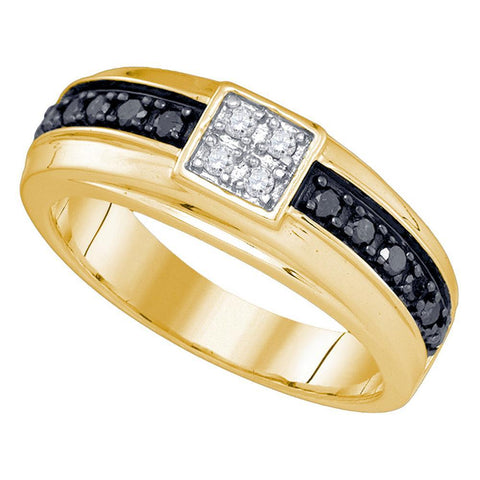 10kt Yellow Gold Mens Round Black Color Enhanced Diamond Cluster Wedding Band Ring 3/8 Cttw