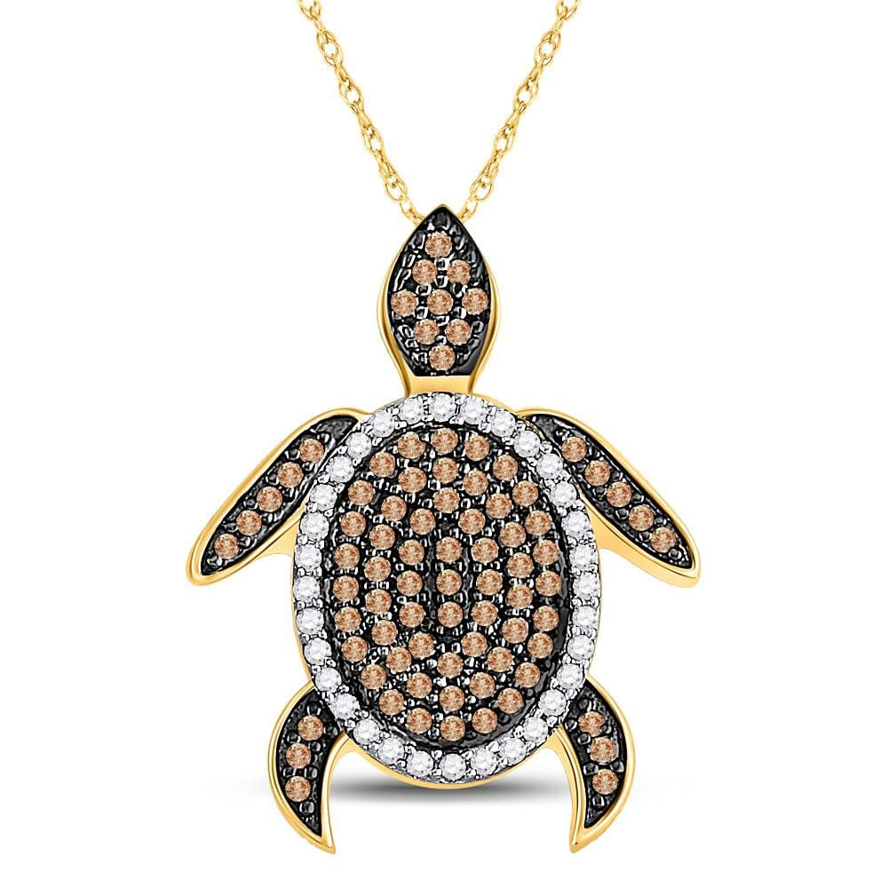 10kt Yellow Gold Womens Round Cognac-brown Color Enhanced Diamond Sea Turtle Tortoise Pendant 1/3 Cttw