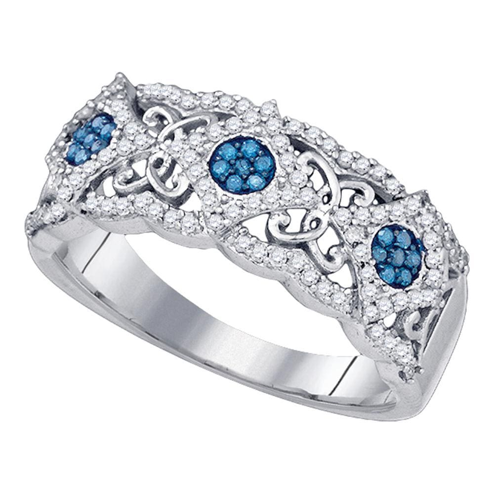 10kt White Gold Womens Round Blue Color Enhanced Diamond Cluster Filigree Band Ring 3/8 Cttw