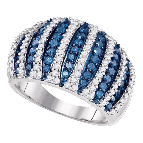 10kt White Gold Womens Round Blue Color Enhanced Diamond Striped Fashion Ring 1-5/8 Cttw