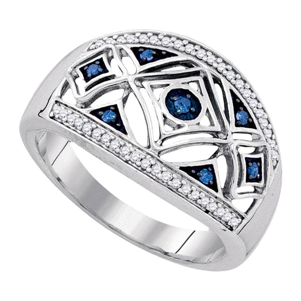 Sterling Silver Womens Round Blue Color Enhanced Diamond Fashion Ring 1/5 Cttw