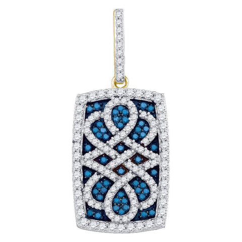 10kt Yellow Gold Womens Round Blue Color Enhanced Natural Diamond Rectangle Frame Cluster Pendant 7/8 Cttw