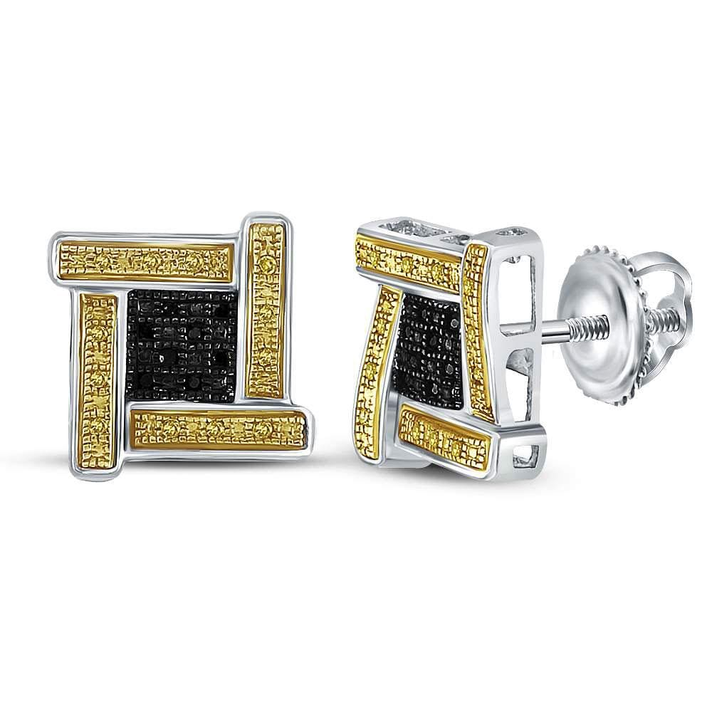 Sterling Silver Mens Round Yellow Black Color Enhanced Diamond Cluster Earrings 1/6 Cttw