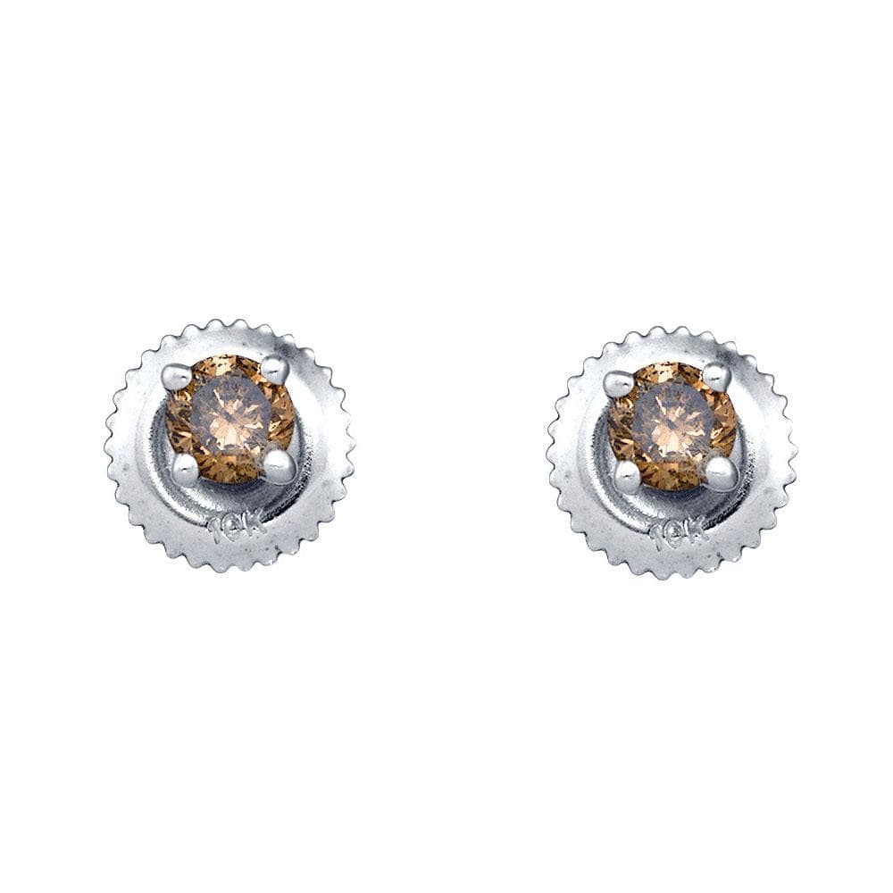 10kt White Gold Womens Round Brown Color Enhanced Diamond Solitaire Stud Earrings 1/4 Cttw
