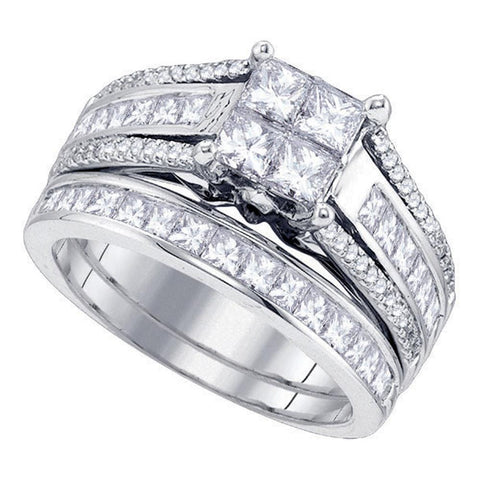 14kt White Gold Womens Princess Diamond Cluster Bridal Wedding Engagement Ring Band Set 1-7/8 Cttw