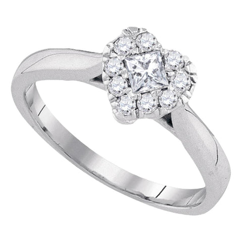 14kt White Gold Womens Princess Diamond Heart Cluster Fashion Ring 3/8 Cttw
