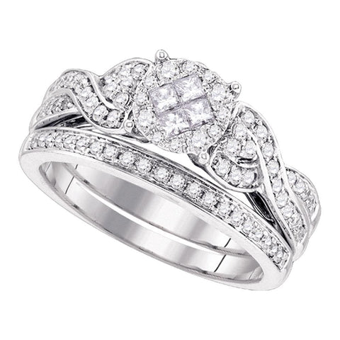 14kt White Gold Womens Princess Round Diamond Soleil Bridal Wedding Engagement Ring Band Set 5/8 Cttw