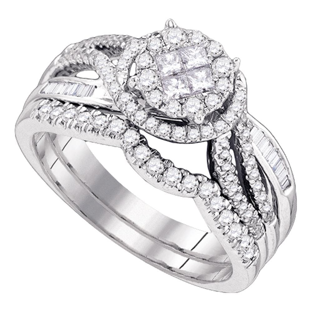 14kt White Gold Womens Princess Round Diamond Soleil Bridal Wedding Engagement Ring Band Set 3/4 Cttw