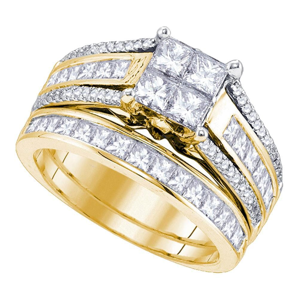 14kt Yellow Gold Womens Princess Diamond Cluster Bridal Wedding Engagement Ring Band Set 1 - 7/8 Cttw