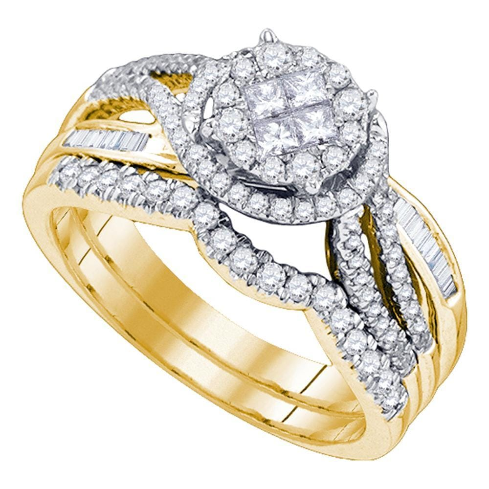 14kt Yellow Gold Womens Princess Round Diamond Soleil Bridal Wedding Engagement Ring Band Set 3/4 Cttw
