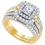 14k Yellow Gold Womens Princess Diamond Double Halo Bridal Wedding Engagement Ring Set 2 Cttw