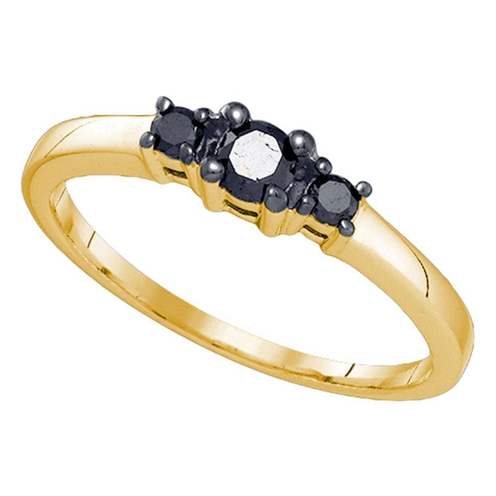 10kt Yellow Gold Womens Round Black Color Enhanced Diamond 3-stone Bridal Wedding Engagement Ring 1/4 Cttw