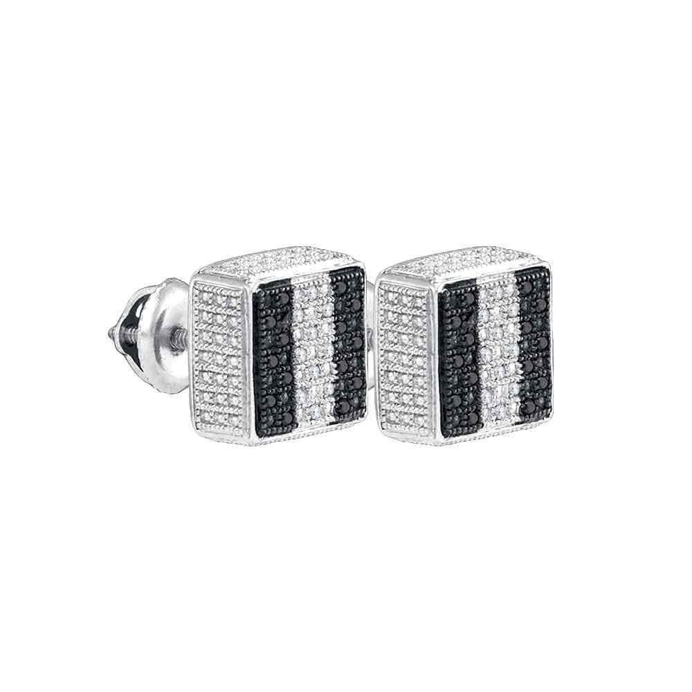 Sterling Silver Black Color Enhanced Round Pave-set Diamond Mens Square Screwback Stud Earrings