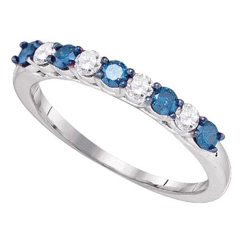 10kt White Gold Womens Round Blue Color Enhanced Diamond Wedding Band Ring 1/2 Cttw